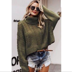 ARORA- Lace Knit Turtleneck Sweater